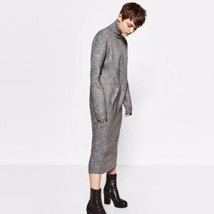 Zara Midi Turtleneck Sweater Dress Gray Large L